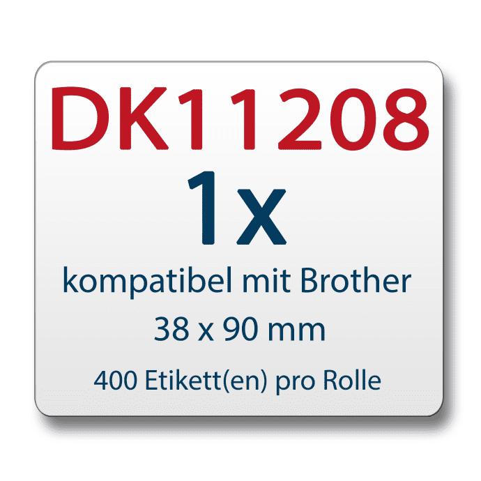 Label für Brother DK11208 38 x 90 mm 400 Label mit wiederverwendbarer Wechselhalterung