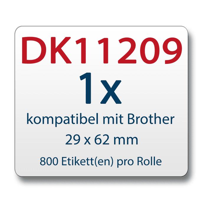 Label für Brother DK11209 29 x 62 mm 800 Label mit wiederverwendbarer Wechselhalterung
