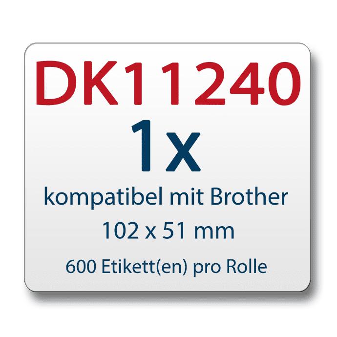 Label kompat. zu Brother DK11240 102 x 51mm mit wiederverwendbarer Wechselhalterung
