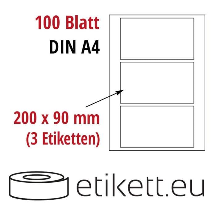 Selbstklebende Laseretiketten DIN A4 Blatt - 3 Stück Etiketten pro Blatt