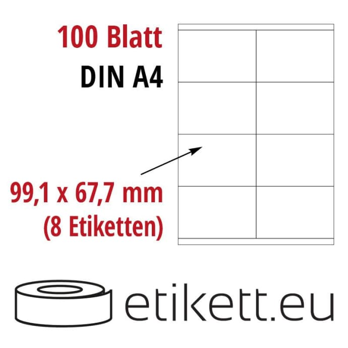 Selbstklebende Laseretiketten DIN A4 Blatt - 8 Stück Etiketten pro Blatt