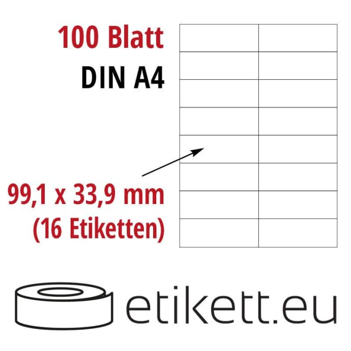 Selbstklebende Laseretiketten DIN A4 Blatt - 16 Stück Etiketten pro Blatt