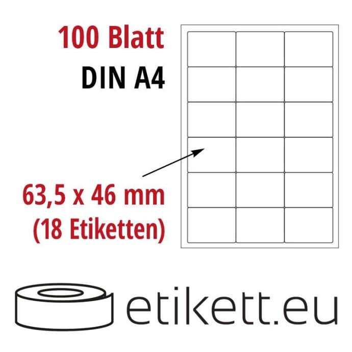 Selbstklebende Laseretiketten DIN A4 Blatt - 18 Stück Etiketten pro Blatt