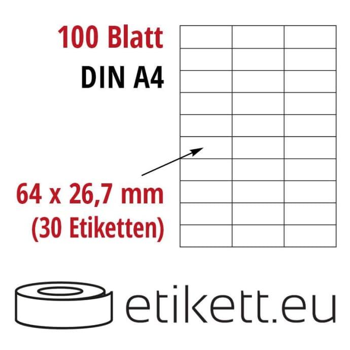 Selbstklebende Laseretiketten DIN A4 Blatt - 30 Stück Etiketten pro Blatt