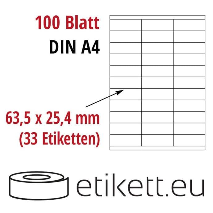 Selbstklebende Laseretiketten DIN A4 Blatt - 33 Stück Etiketten pro Blatt