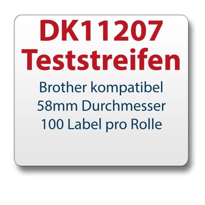 Teststreifen Brother komp. Etikett DK11207 d=58mm