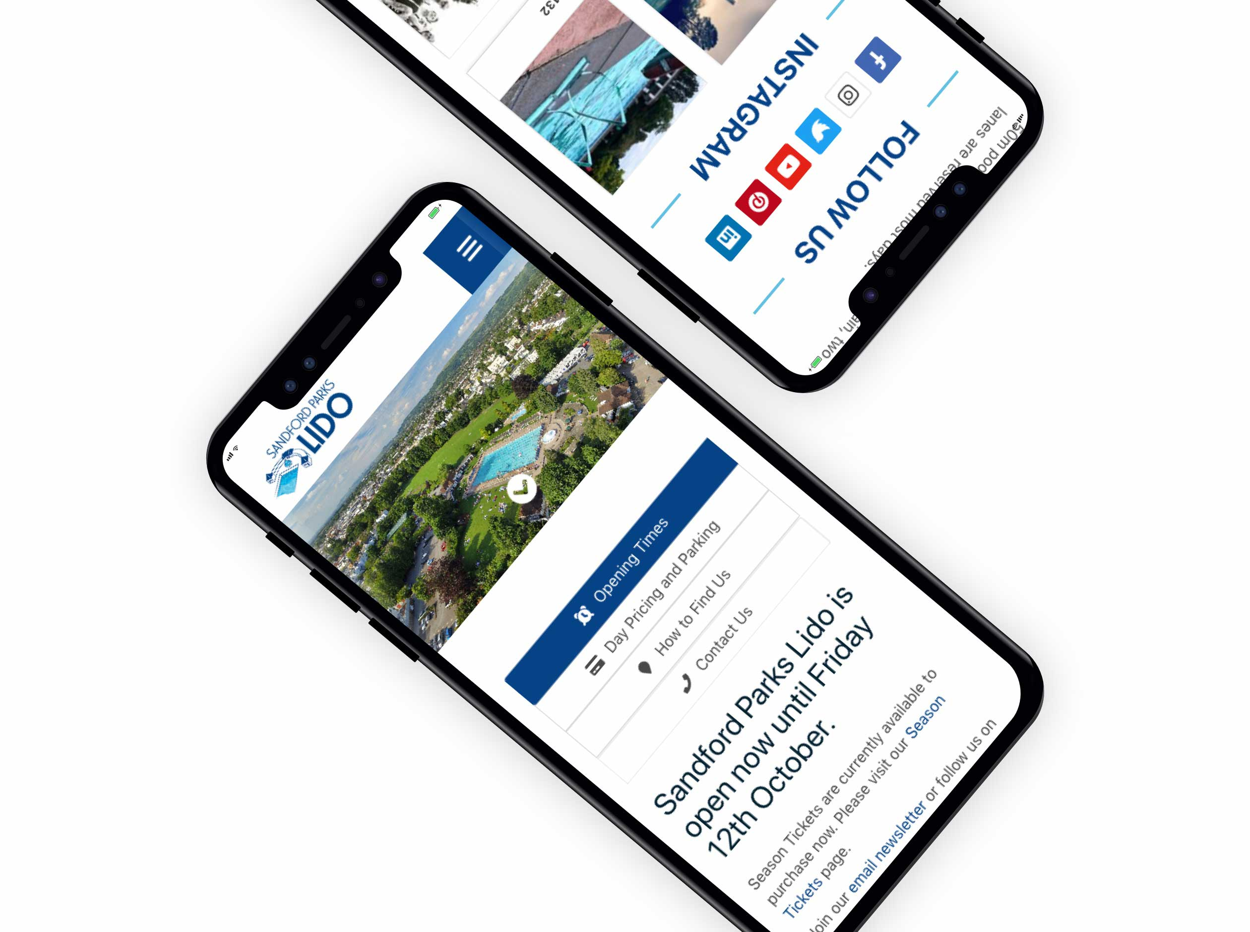 Sandford Parks Lido website in mobile view