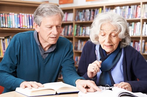 Couple doing research