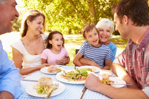 Multiple generations of family at a picnic