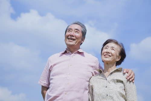 Smiling couple outside