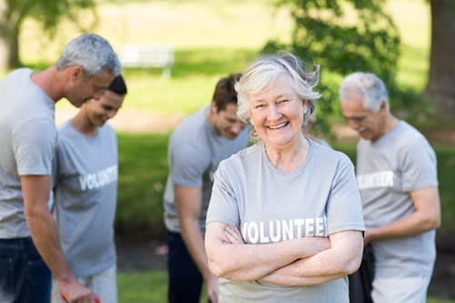 Senior woman volunteering