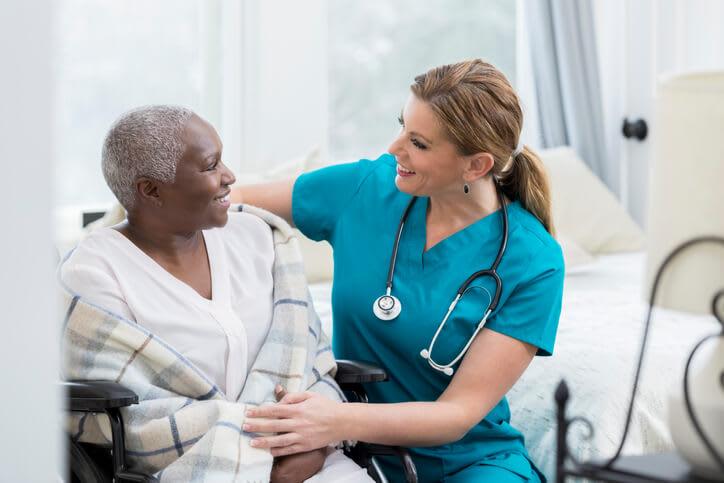 Home health care nurse provides palliative care to patient