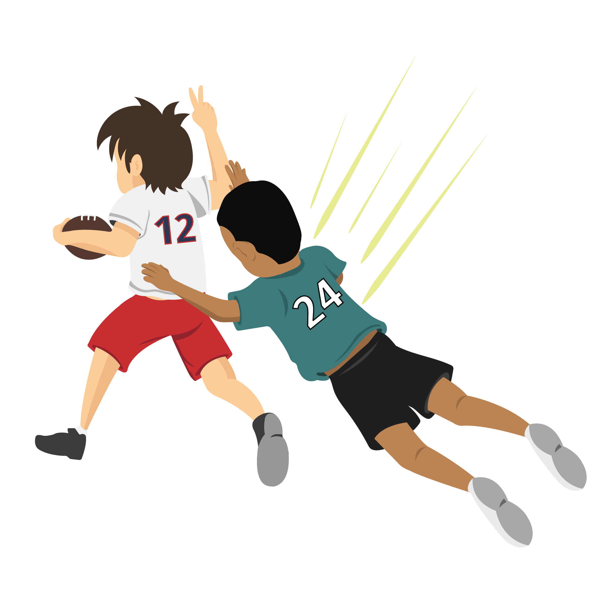 Two animated children playing football when one suffers injury