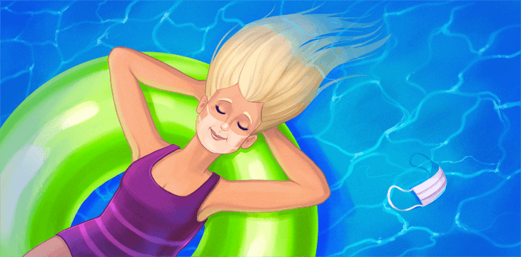 Woman laying on pool float with face mask in pool