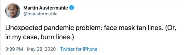 Face mask tan line tweet