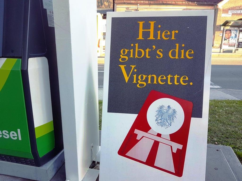 Austrian vignette sale sign