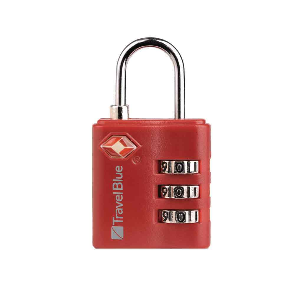 TSA approved red combination padlock travel blue