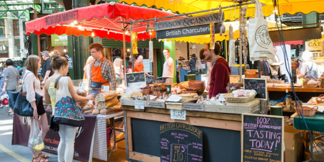 Specialty food stalls at Borough Market, one of the best street food markets in London
