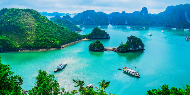 Scenic view of the islands in Halong Bay, one of the best things to do in Vietnam