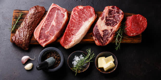 5 kinds of raw Black Angus Prime meat steak in Abu Dhabi