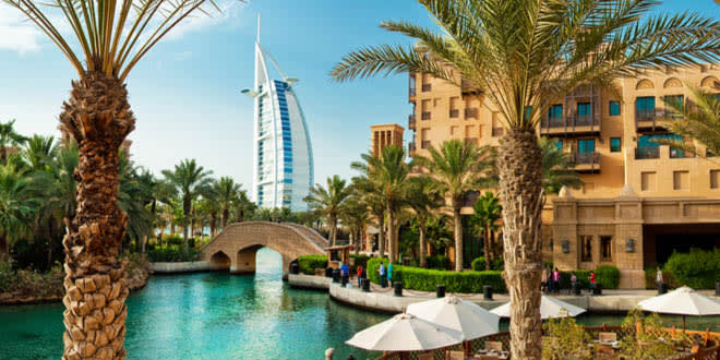 Famous hotel and tourist district of Madinat Jumeirah, in Dubai's foodie paradise
