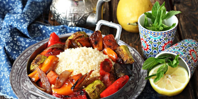A great example of Moroccan cuisine: couscous and mint tea.