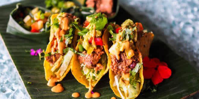 Vegan jackfruit tacos from some of the best vegan restaurants in New York.