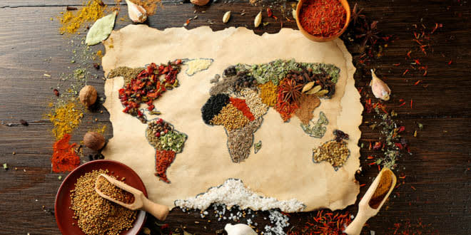 World map made from different kinds of spices to represent the restaurants to travel the world from Melbourne