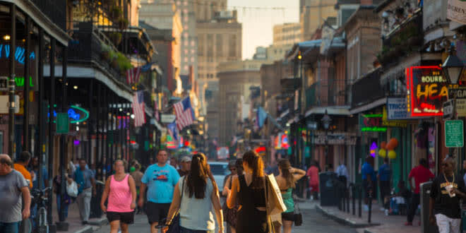 Pubs and bars with neon lights in the French Quarter in downtown New Orleans, one of the best foodie cities in the US.