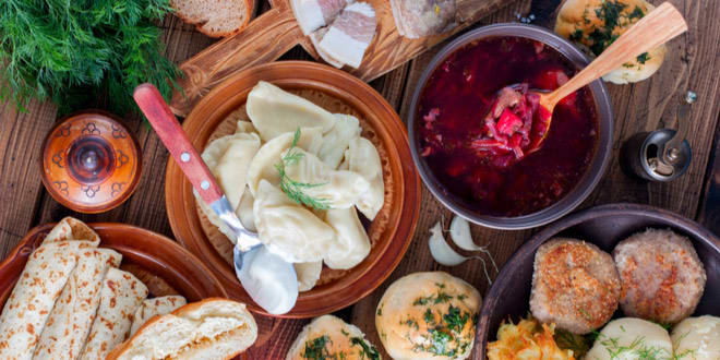 Array of the most typical dishes of Ukrainian cuisine