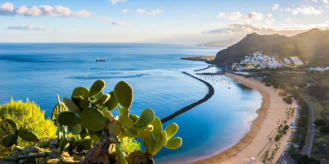 Scenic view of beach las Teresitas in the Spanish island of Santa Cruz de Tenerife, Canary Islands, one of the best places to visit in Spain for foodies.