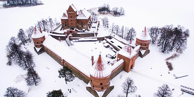 Trakai red castle in winter, one of the most beautiful places in Lithuania