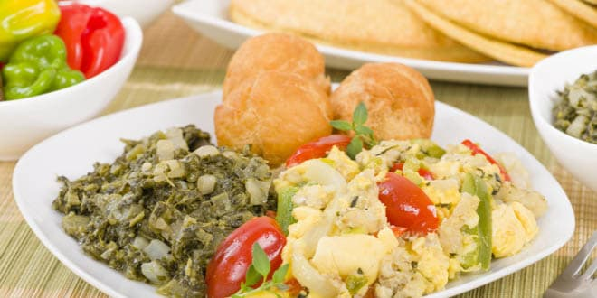 Ackee and Saltfish, a traditional Jamaican dish made of salt cod and ackee fruit.