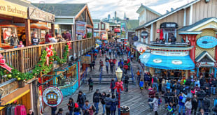 San Francisco restaurants and shops in the Fisherman's Wharf and Pier 39 area