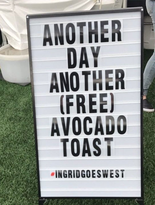 avocado toast sign