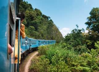 LK.Zug fährt durch Teeplantage
