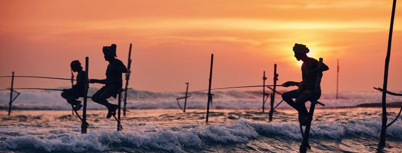 SK.Angler 3 Ein Stelzenfischer bei Sonnenuntergang
