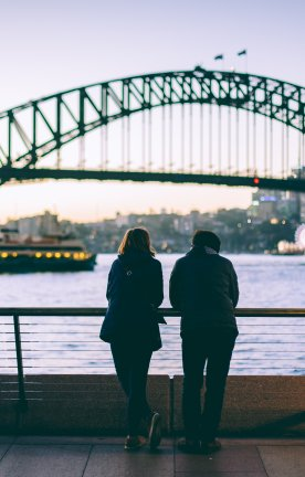 AU.Sydney Harbour Bridge with couple Sydney Harbour Bridge with couple