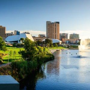 AU.Adelaide Der Blick auf die Skyline von Adelaide.