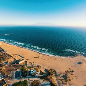 US.AR.Los Angeles Beach Blick auf Venice Beach aus Vogelperspektive