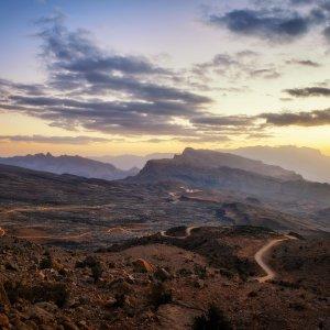 OM.POI.Jebel Akhdar 8 Das Jebel Akhdar Gebirge bei Sonnenuntergang