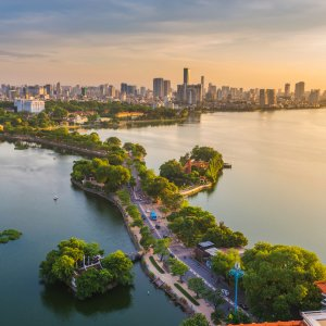 VN.Hanoi Der Blick auf die Stadt Hanoi.