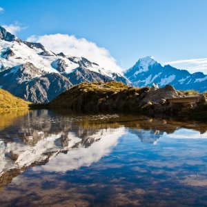 NZ.Mt Cook 1 Wanderer im Mount Cook Nationalpark Neuseeland