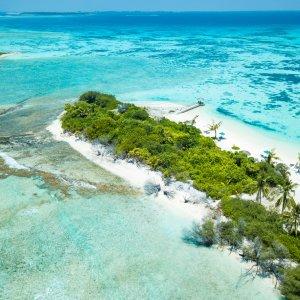 MV.Addu Atoll Riff Sandküste mit Palmen inmitten türkisblauem Ozean, Addu Atoll
