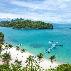 TH.AR.Ko Samui Strand Blick auf einen Strandabschnitt mit Palmen und weißem Sand