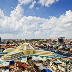 KH.Phnom_Penh_Zentralmarkt Der Blick auf den Zentralmarkt von Phnom Penh, Kambodscha.