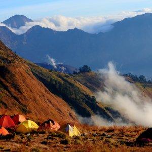 Lombok.Mount_Rinjani_Camp Das Camp am Rande des Rinjani Vulkans