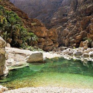 OM.Wadi Shab 1 Smaragdgrünes Wasser im Wadi Shab im Oman