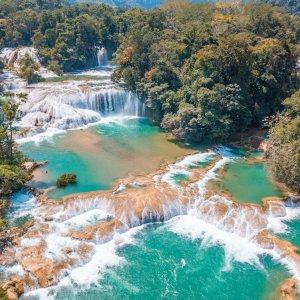MX.Cascadas_de_Agua_Azul Die türkisfarbigen Wasserfälle