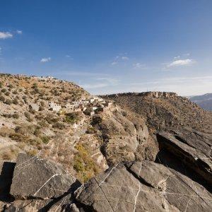 "OM.Nizwa.Jebel_Akhdar Panoramablick auf das Gebirge ""Jebel Akhdar"" im Oman"